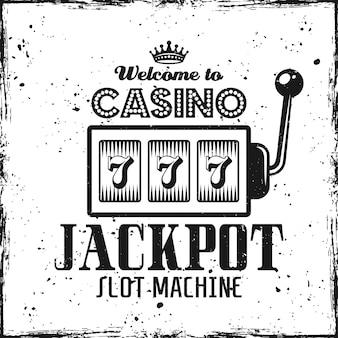 Casino emblem with slot machine on textured background
