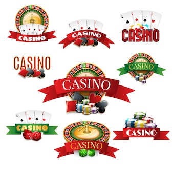 Casino emblems set