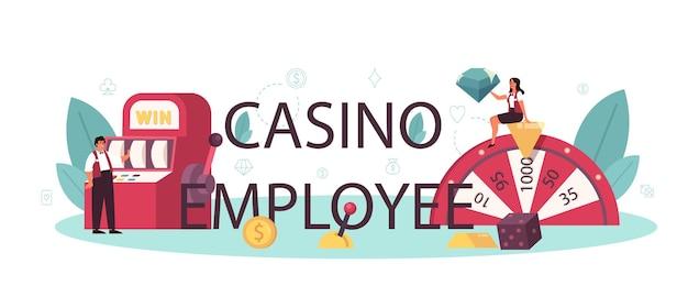カジノの従業員の活版印刷のヘッダー。ルーレットテーブルの近くのカジノのディーラー。ギャンブルカウンターの後ろに制服を着た人。