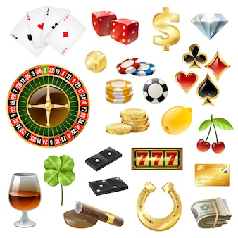 Casino equipment symbols accessories glossy set