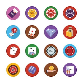Casino equipments icons