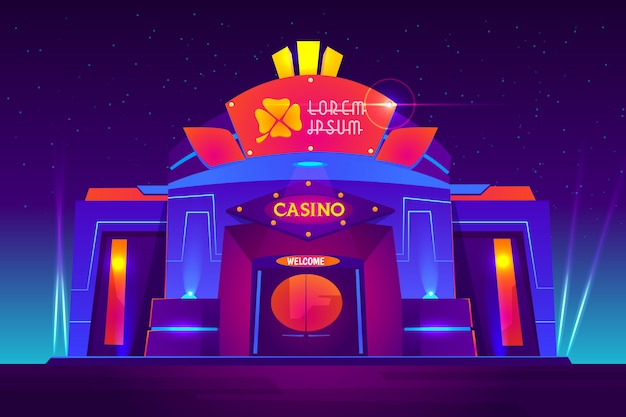 Casino exterior with neon lights. gambling house front view with clover sign on entrance
