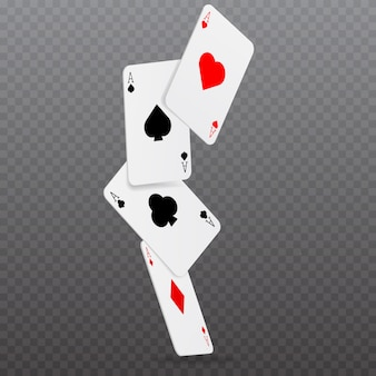 Casino falling poker cards game concept.