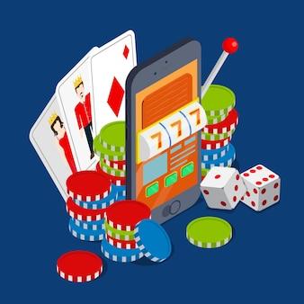 카지노 평면 3d 아이소 메트릭 운 성공 도박 벡터 개념 스마트 폰 태블릿 모바일 장치