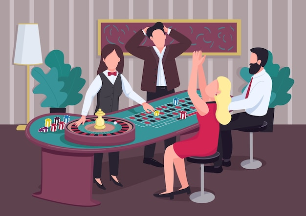 カジノフラットカラー。人々のグループはルーレットのテーブルで遊びます。ディーラーディールチップ。女性のスピンホイール。背景に競合他社とインテリアのギャンブラー2d漫画のキャラクター