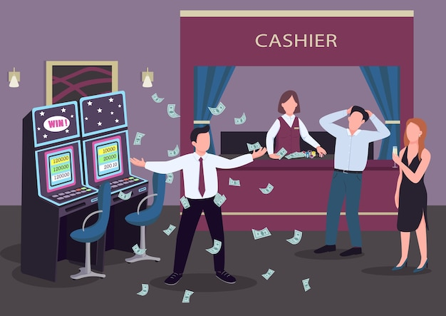 Casino flat color . man winning at game of chance. slot machines throw cash prize. winner celebrates. gambler 2d cartoon characters in interior with cashier counter on background