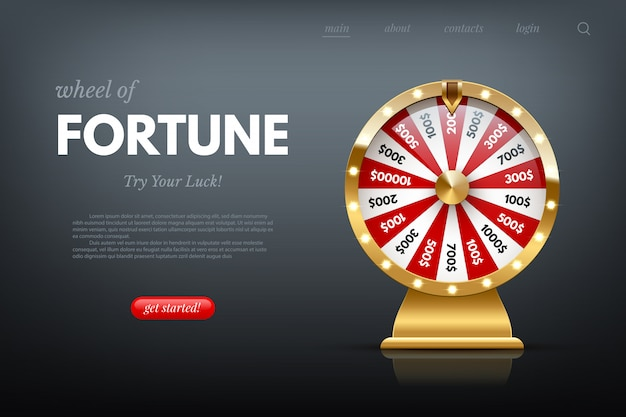 Casino fortune wheel web template. shiny lucky number wheeling roulette. gambling industry, entertainment, hobby concept.
