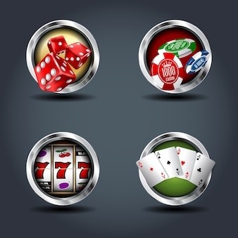 Casino four steely rounded badge icons