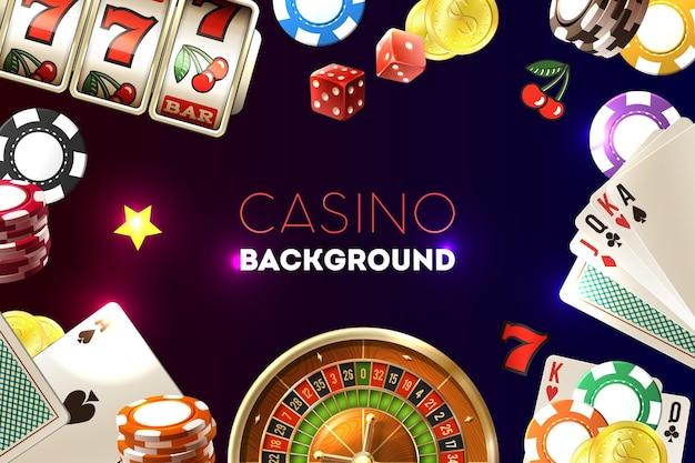 Рамка казино с текстом и реалистичной иллюстрацией элементов азартных игр