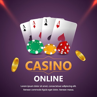 Casino gambling game with golden text and playing cards and casino slot
