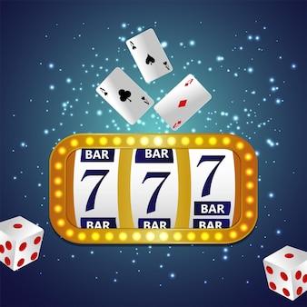 スロットマシンとトランプを使ったカジノギャンブルゲーム