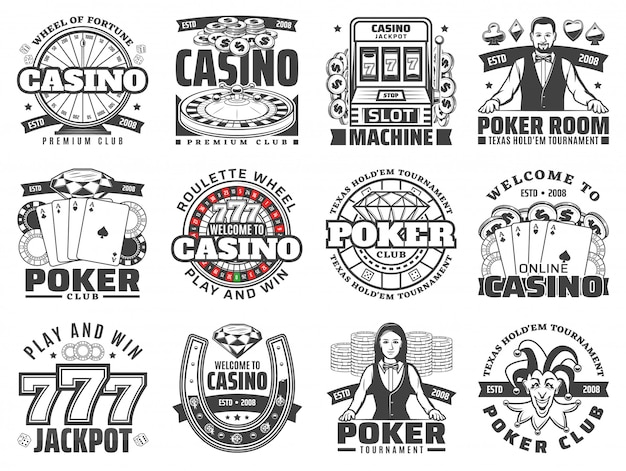 Casino gambling games isolated  icons
