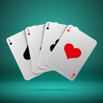 Casino gambling poker blackjack vector concept with playing cards with four aces. combination playin
