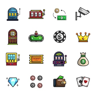 Casino gambling poker elements full color  icon set