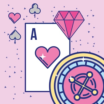 Casino and gambling roulette ace card