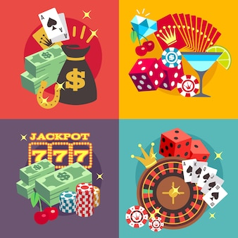 Casino gambling vector concept set with win money jackpot flat icons. roulette and fortune in blackj