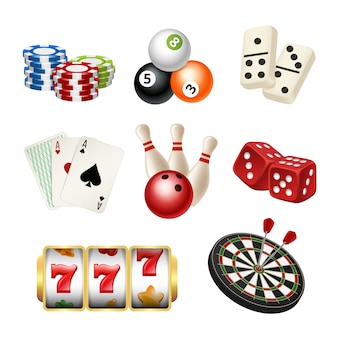 Casino game icons. playing cards bowling domino darts dice  realistic s of play tools