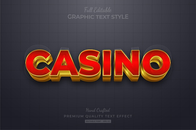 Casino gold editable eps text style effect premium