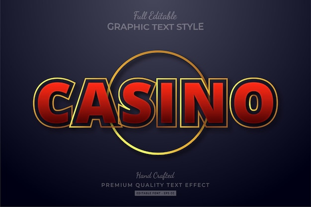 Casino gold editable text effect font style
