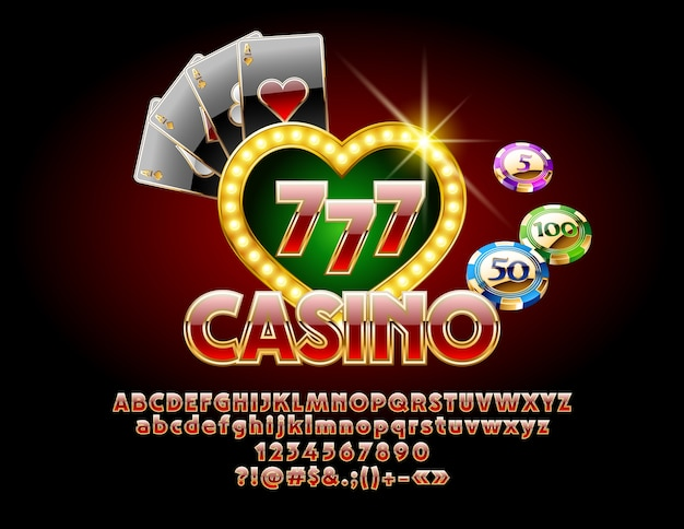 Casino golden chic sign with font. poker luxury set of illustration with alphabet letters