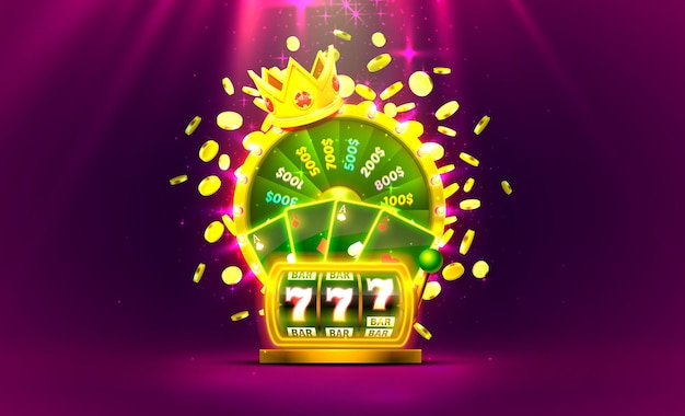 Casino golden colorful fortune wheel, neon slot machine, playing cards wins the jackpot