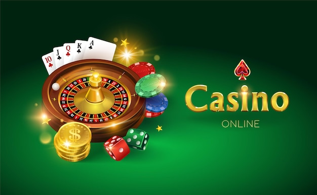 Casino on a green background. dice, gold coins, cards, roulette and chips.  illustration