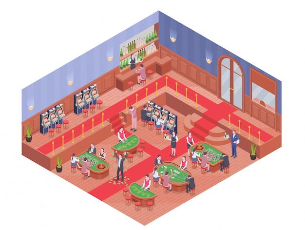 Casino hall with bar and people playing different gambling games isometric composition 3d
