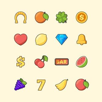 カジノのアイコン。スロットマシンギャンブル色のシンボルジャックポットダイヤモンドコインチェリーバナナの写真。