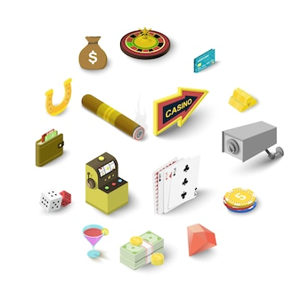 Casino icons set, isometric style
