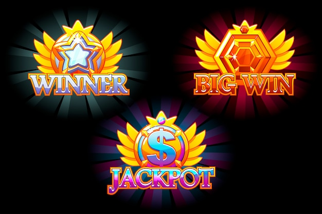 Casino icons. winner, jackpot and big win.  colorful jewelry stones. awards with gems. game asset for casino and ui