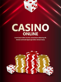 Casino illustration with casino chips and gold coin