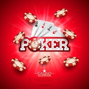 ポーカーカードと遊ぶチップカジノイラスト