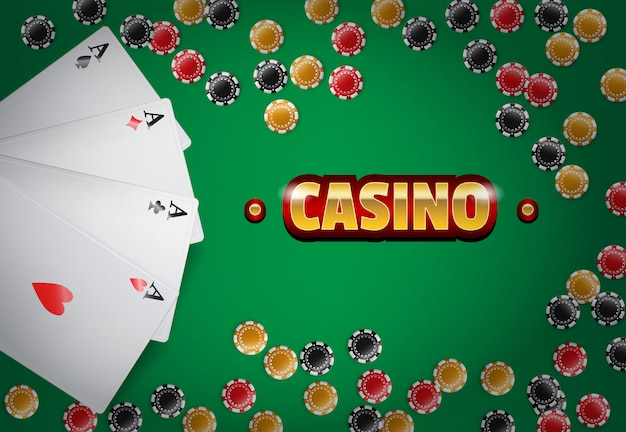 Casino inscription, four aces and chips on green background.