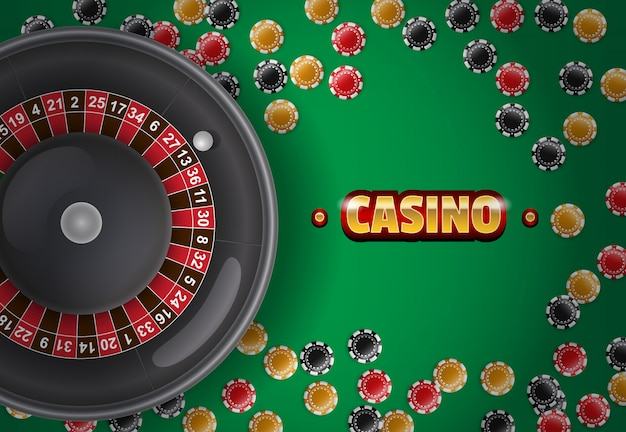 Casino inscription, roulette and chips on green background.