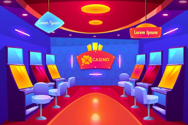 Casino interior, empty gambling house with slot machines stand in raw and illumination.