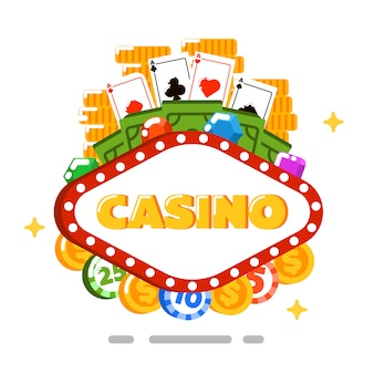 Casino isolated concept in flat style