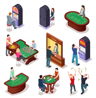 Casino isometric character set. poker roulette table, slot machines in playing room. nightclub entertainment casino gambling 3d vector set