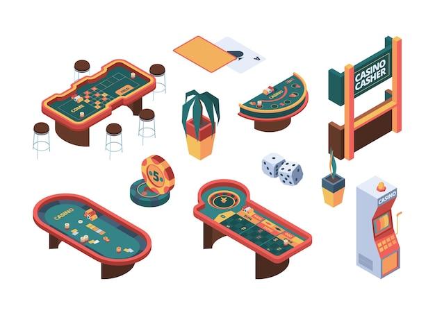 カジノアイソメトリック。ポーカーギャンブルテーブルゲームナイトクラブカードルームギャマーの人々。