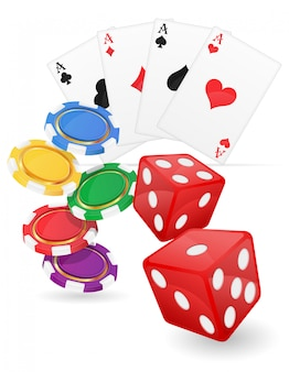 Casino items cards ace and dice