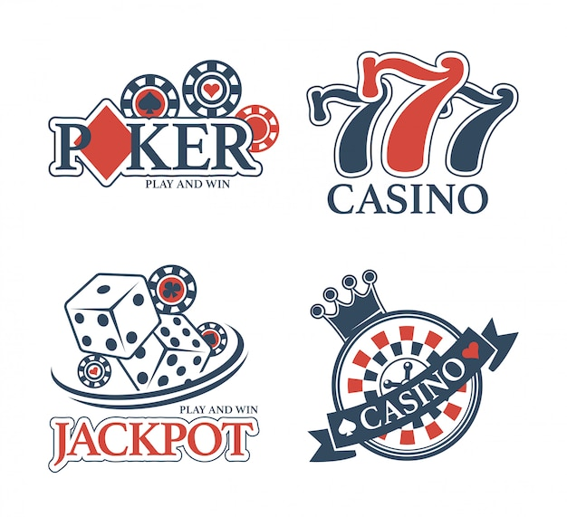 Casino jackpot and poker club isolated promotional emblems set
