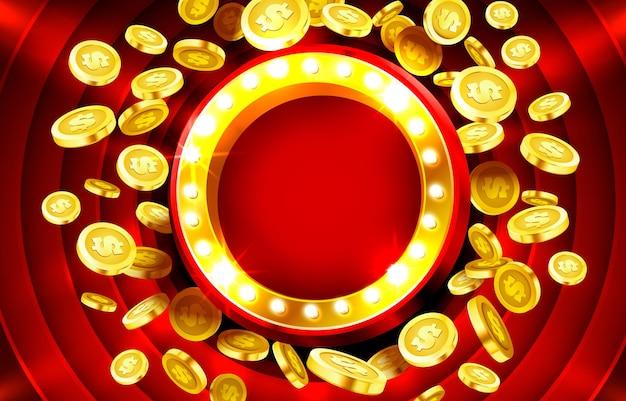 Рамка лампы казино с золотыми реалистичными d монетами фоном