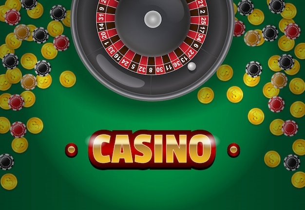 Casino lettering, roulette, coins and chips on green background.
