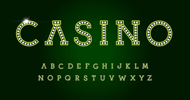Casino letters set on green background. green luxury style vector latin alphabet. font for events, web business, promo, logos, banner, monogram and poster. typography design.