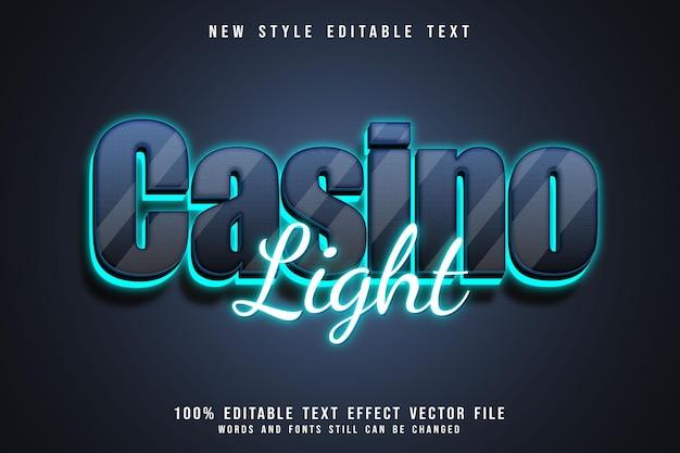 Casino light editable text effect 3 dimension emboss neon style Premium Vector