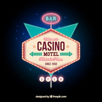 Casino light sign background in retro style