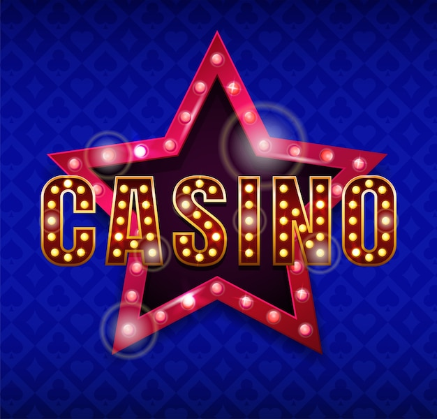 Casino logo. inscription casino with star behind,  illustration