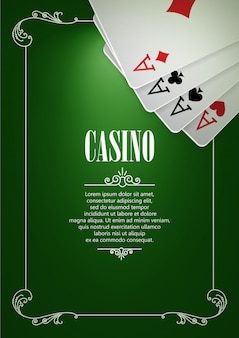 Casino logo poster background or flyer with playing cards.