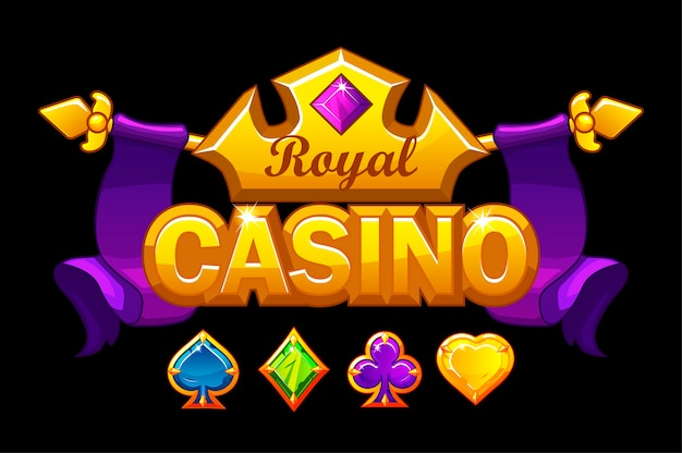 Casino logo with golden crown and treasure. royal gambling background with precious stones game card symbols.