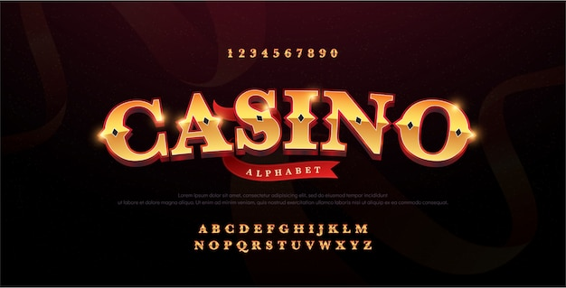 Casino luxury 3d alphabet gold logotype