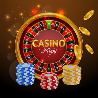 スロットマシンとカジノチップを備えたカジノの豪華なグリーティングカード